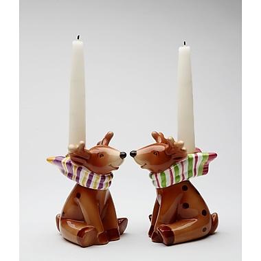 CosmosGifts Reindeer 2 Piece Ceramic Candlestick Set