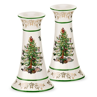 Spode Christmas Tree Candlestick (Set of 2)