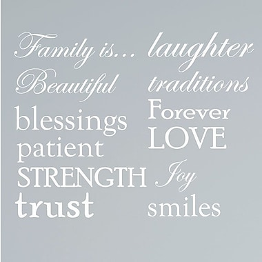 Innovative Stencils 12 Family Quote Words Vinyl Wall Decal; White