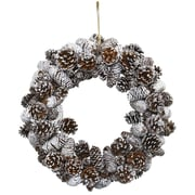 Nearly Natural 17'' Snowy Pine Cone Wreath