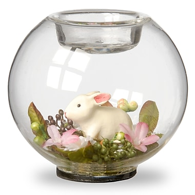 National Tree Co. Glass Candle Holder Sphere w/ Bunny and Pink Flowers - Set of 4