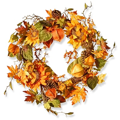 National Tree Co. Harvest 25'' Sunflower Wreath WYF078280043643