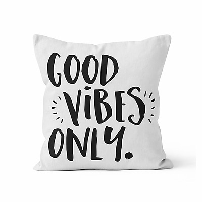 Kalilaine Creation Good Vibes Only Throw Pillow; 16'' H x 16'' W x 3'' D