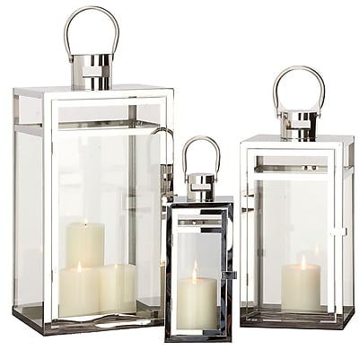 Urban Designs 3 Piece Lantern Candle Holder Set; Polished Stainless Steel WYF078280047433