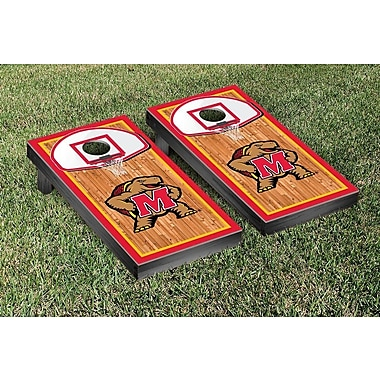 Victory Tailgate NCAA University Of Maryland Terps Basketball Hoop Wooden Cornhole Game Set