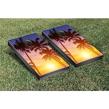 Victory Tailgate Palm Tree Sunrise Cornhole Game Set