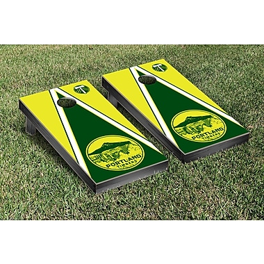 Victory Tailgate MLS Triangle Version Cornhole Game Set; Portland Timbers