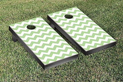Victory Tailgate Basic Chevron Wedding Cornhole Game Set; Green