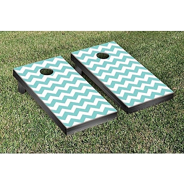 Victory Tailgate Basic Chevron Wedding Cornhole Game Set; Teal