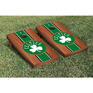 Victory Tailgate NBA Rosewood Stained Stripe Version 10 Piece Cornhole Game Set; Boston Celtics