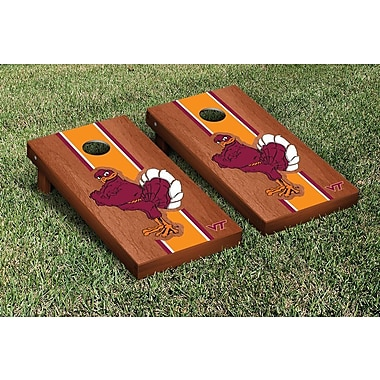 Victory Tailgate NCAA Rosewood Stained Stripe Version 2 Cornhole Game Set; Virginia Tech Hokies