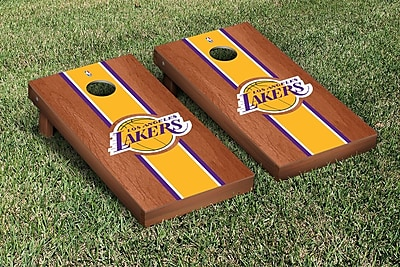 Victory Tailgate NBA Rosewood Stained Stripe Version 10 Piece Cornhole Game Set; Los Angeles Lakers