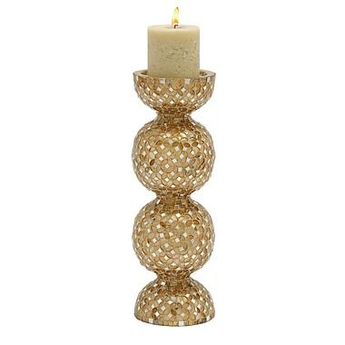 Woodland Imports Mosaic Metal Candlestick; Beige