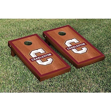 Victory Tailgate NCAA Rosewood Stained Border Version Cornhole Bag Toss Game Set; Charleston Cougars