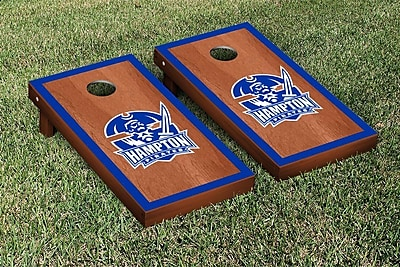 Victory Tailgate NCAA Rosewood Stained Border Version Cornhole Bag Toss Game Set; Hampton Pirates