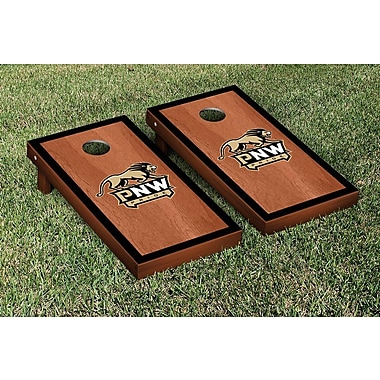 Victory Tailgate NAIA Rosewood Stained Border Version Cornhole Game Set; Purdue Calumet Peregrines