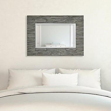 Majestic Mirror Rectangular Beveled Glass Wood Framed Textured Wall Mirror
