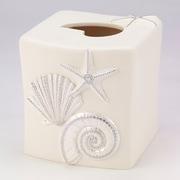 Avanti Linens Sequin Shells Tissue Box Cover