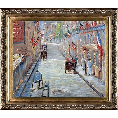 Tori Home The Rue Mosnier w/ Flags by Edouard Manet Framed Painting Print on Wrapped Canvas