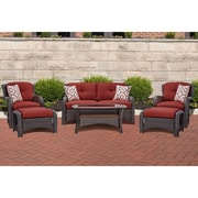 Darby Home Co Barrand 6 Piece Lounge Seating Group w/ Cushion; Red