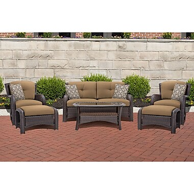 Darby Home Co Barrand 6 Piece Lounge Seating Group w/ Cushion; Tan