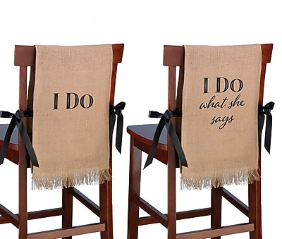 Lillian Rose ''I Do'' Rustic Burlap Chair Cover
