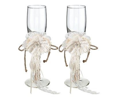 Lillian Rose Rustic Burlap Toasting Glass Champagne Flute (Set of 2) WYF078280164376