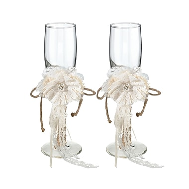 Lillian Rose Rustic Burlap Toasting Glass Champagne Flute (Set of 2)