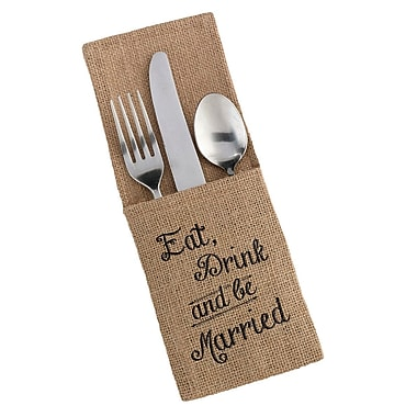 Lillian Rose Eat, Drink and Be Married Rustic Burlap Silverware Holder (Set of 4)