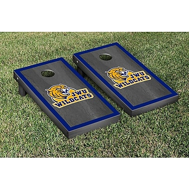 Victory Tailgate NAIA Onyx Stained Border Version Cornhole Game Set; Johnson & Wales