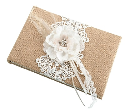 Lillian Rose Rustic Burlap and Lace Guest Book