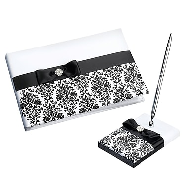 Lillian Rose Damask Guest Book and Pen Set