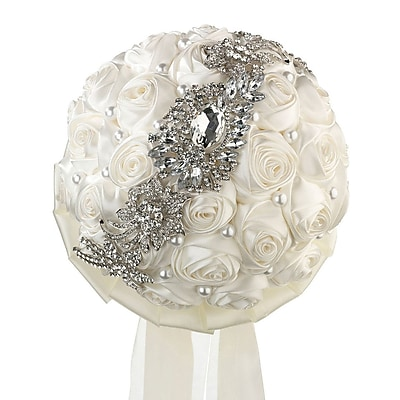 Lillian Rose Pearl/Rhinestone Wedding Bouquet WYF078280164312