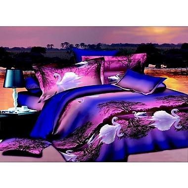 Homechoice International Group Swan 3D 4 Piece Sheet Set; Queen