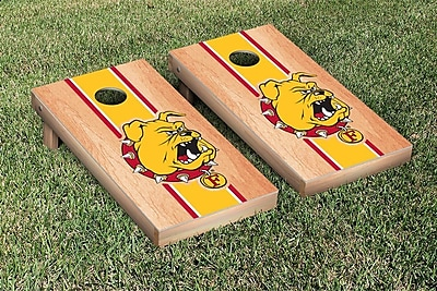 Victory Tailgate NCAA Hardcourt Striped Version Cornhole Game Set; Ferris State Bulldogs