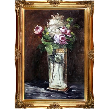 Tori Home Flowers in a Crystal Vase II by Edouard Manet Framed Painting Print on Wrapped Canvas