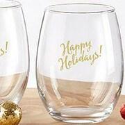 Kate Aspen Happy Holidays 15 Oz. Stemless Wine Glass (Set of 4)