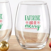 Kate Aspen Eat Drink Be Merry 15 Oz. Stemless Wine Glass (Set of 4)