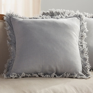 Saro Ruffled Linen Throw Pillow; Blue Grey