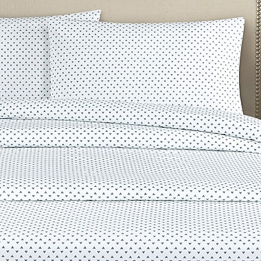 Echelon Home Cleo 250 Thread Count Cotton Percale Pillow Case (Set of 2); Navy
