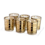 V-MoreInc. Glass Votive (Set of 6); Mercury Gold