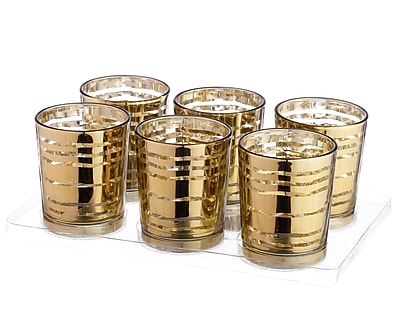 V-MoreInc. Glass Votive (Set of 6); Mercury Gold