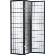 Major-Q 72'' x 52'' 3 Panel Room Divider; Black