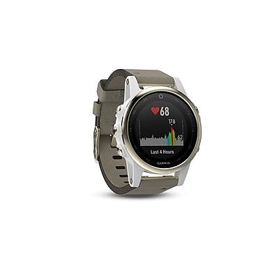 Garmin – Montre intelligente GPS multisport fenix® 5S édition Sapphire, 42 mm, champagne/suède gris (010-01685-12)