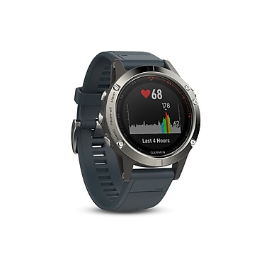 Garmin – Montre intelligente GPS multisport fenix® 5, 47 mm, argent/bleu granit (010-01688-01)