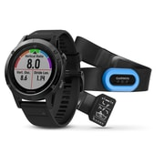 Garmin – Ensemble Performer de montre intelligente GPS multisport fenix® 5 édition Sapphire, noir/noir (010-01688-31)