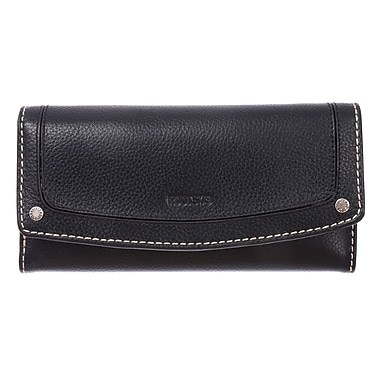 Roots Clutch Wallet with Check Book - Ladies Continental Collection, Black