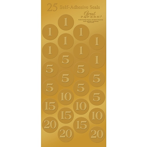 Great Papers! Number Foil seals, Gold, 50/Pack (2015114PK2)