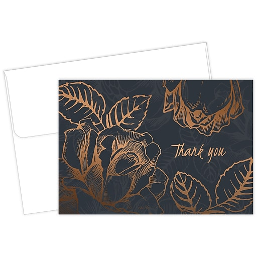 "Great Papers® Copper Flower Thank You Card, 4.875"" x 3.375"", 50/Pack (2015126)"