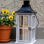 LumaBase Wooden Lantern w/ Metal Roof and LED Candle